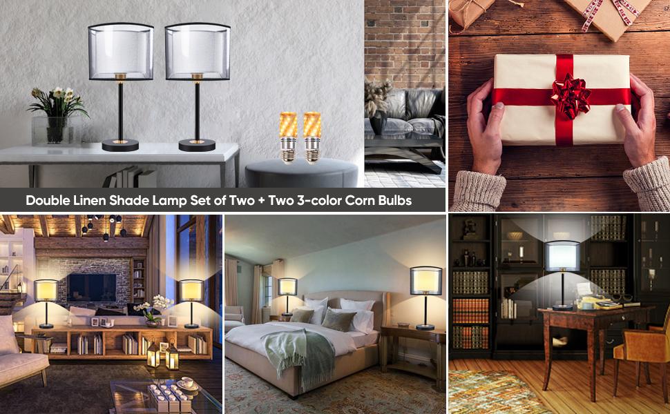 Shine Decor Double Shade LED Bedside Table Lamps Decoration