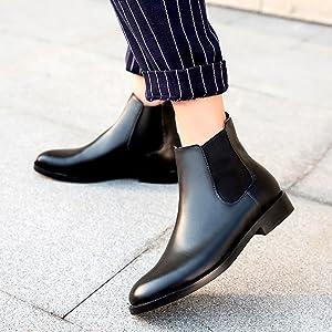 black leather chelsea boots women flat heel