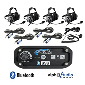 Rugged Radios 696-4P-BTU Black Intercom Kit with Behind the Head Headsets Push to Talks Cables