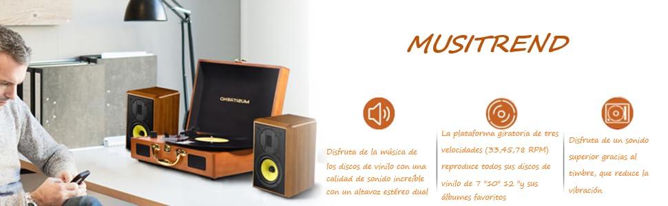 Tocadiscos estéreo de 3 velocidades, Maleta Portátil con 2 ...