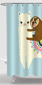 Cartoon Sloth Llama Shower Curtain