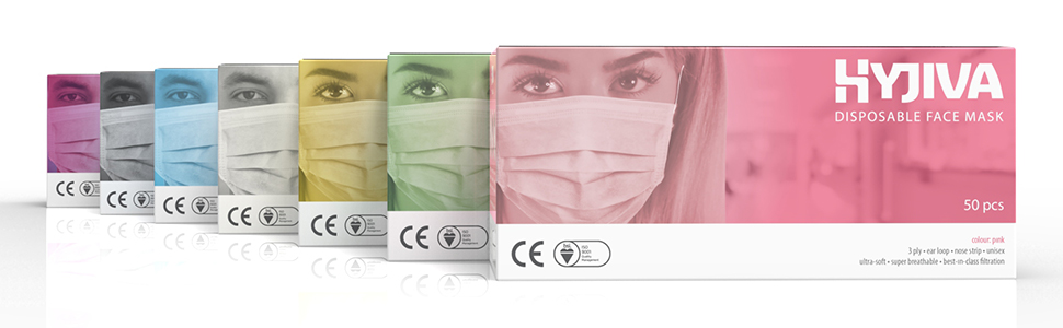 disposable face mask colours blue green pink white yellow assorted