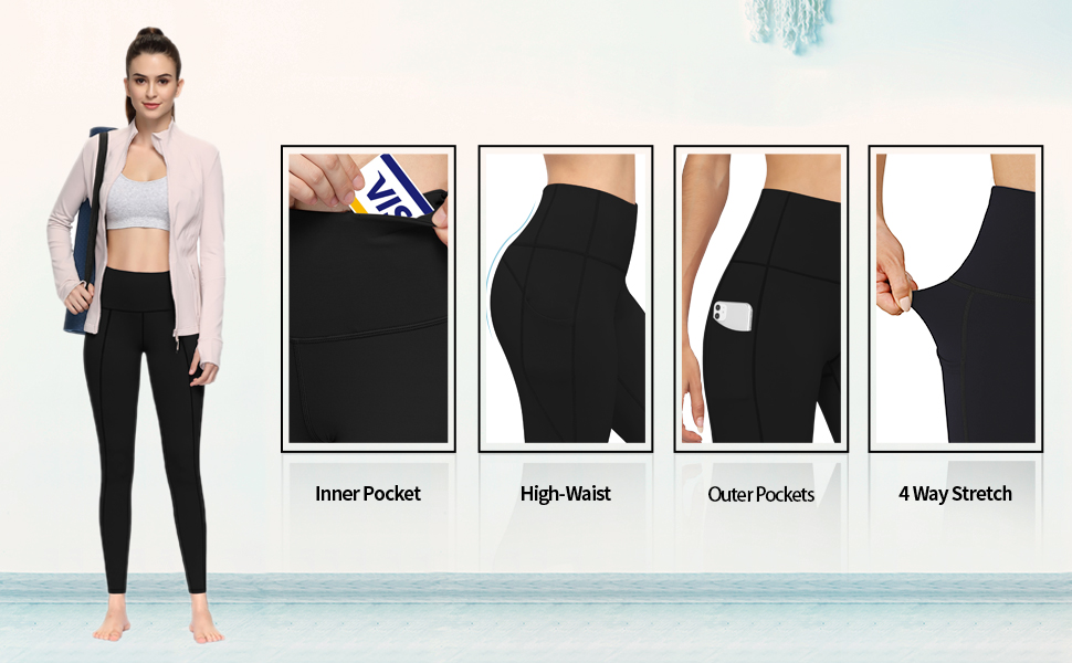Yoga Leggings Pants with Pockets for Women