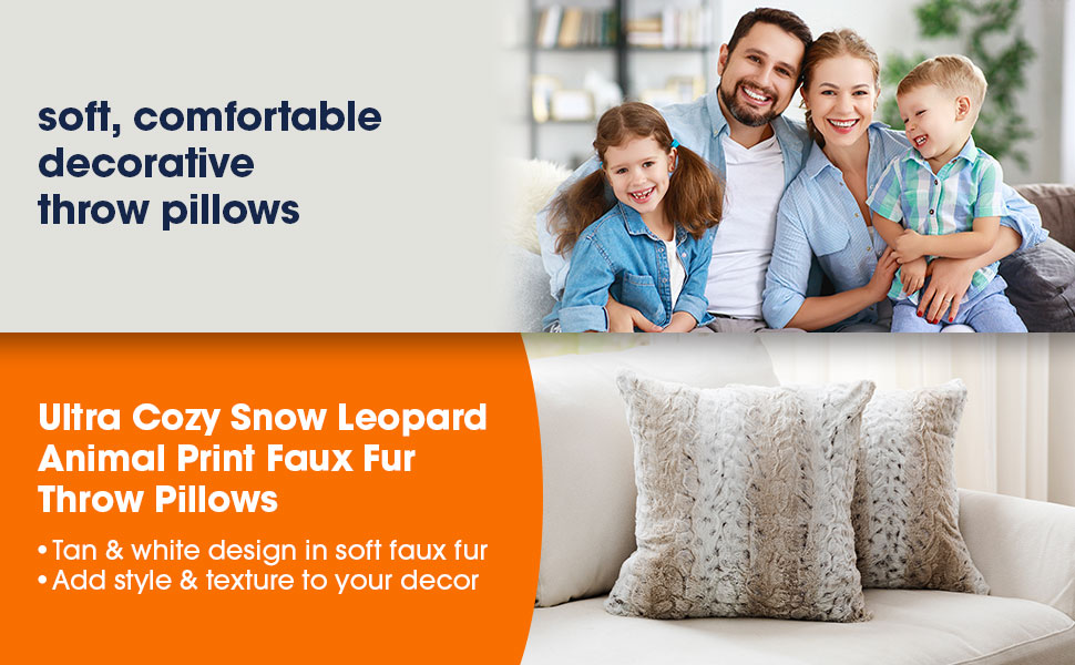 Cheer Collection's Ultra Cozy Snow Leopard Animal Print Faux Fur Throw Pillows