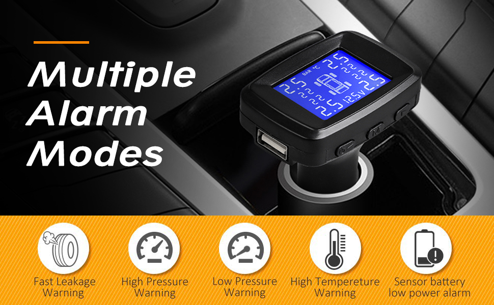 Tire Pressure Monitor Entweg USB TPMS Tire Pressure Monitor for Android Navigation Tire Pressure Monitoring Alarm System//Wireless Digital Transmission TPMS Sensor Tool with Sensor