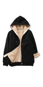 Zip Up Sherpa Lined Hooded Sweatshirt