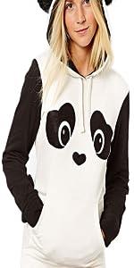 Women's Panda Print Long Sleeve Cute Fashion Hoodie
