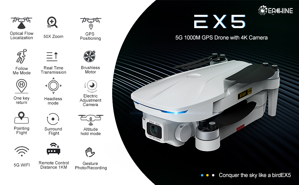 EX5 GPS Drone with 4K signal 5G 1000m