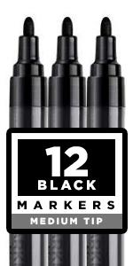 Black Paint pens for Rock Painting, Stone, Ceramic, Glass. Set of 12 Black Acrylic Paint Medium