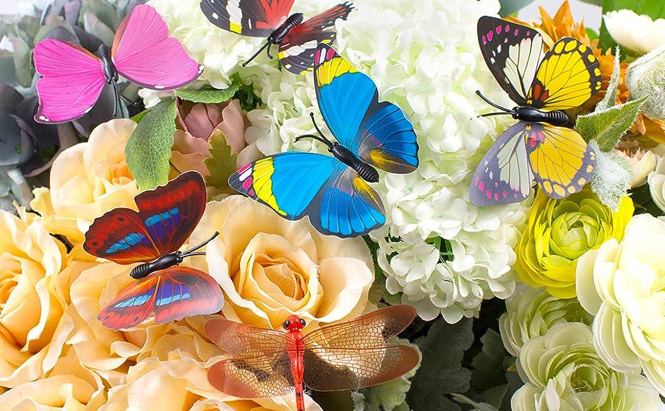 10 x ladybird bee garden ornaments, outdoor butterflies decoration for balcony, yard, terrace, party