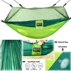 Details about  /Hieha Camping Hammock With Mosquito Net Portable Double//Single Hammocks With Bu