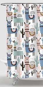 Colorful Cartoon Llama Shower Curtain