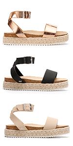 Flatform Sandals For Women Womens Platform Wedge Sandles Black Summer Espadrilles White Flat Wedges