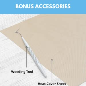 kassa bonus accessories for iron on vinyl include a teflon heat cover sheet and a weeding tool