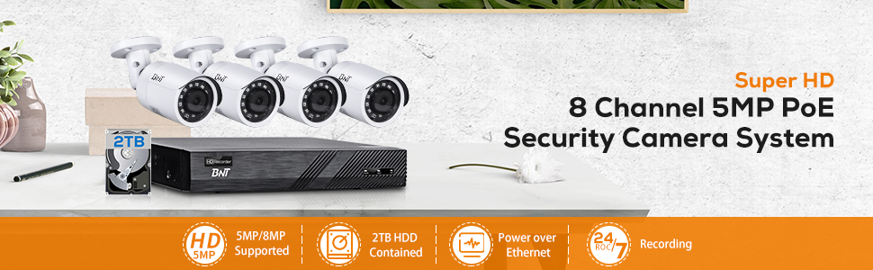8Channel 5MP PoE Secuirty Camera System