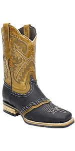 silverton wyoming genuine leather western square toe black cowboy boots