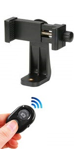 Phone tripod mount with remote