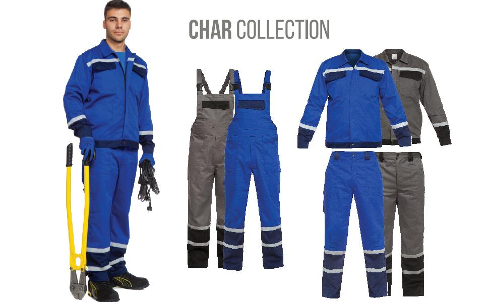 Char Salopette da Lavoro con Striscia Riflettente 2,5 cm Colori Diversi Uomo