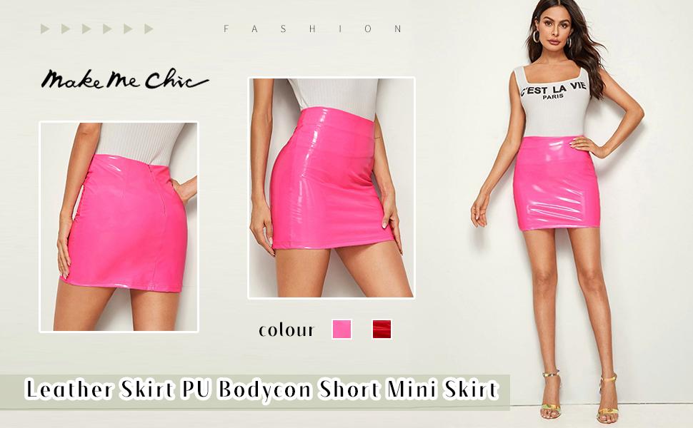 Bubble but mini skirts Makemechic Women S Neon Zip Back Leather Skirt Pu Bodycon Short Mini Skirt At Amazon Women S Clothing Store