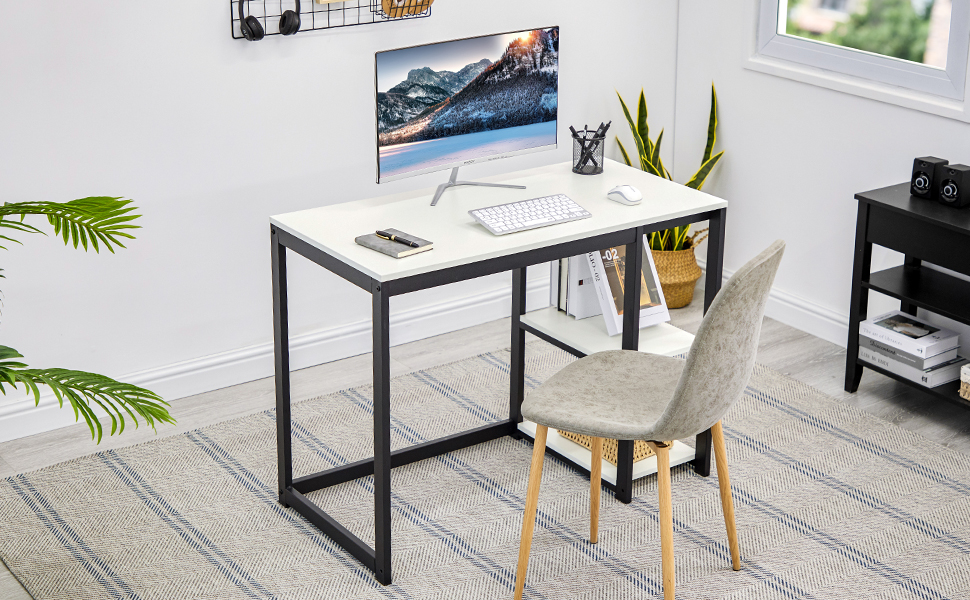 computer desk with 2-tier shelf