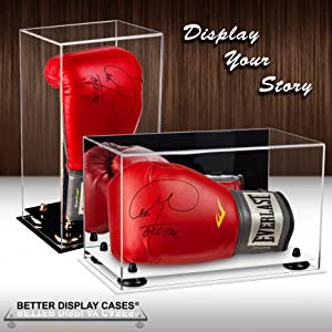 Acrylic Display Case Ideal for Boots//Gloves With A Red Acrylic Delux Base