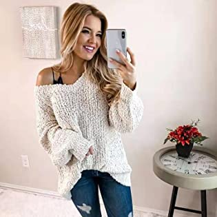Winter Fuzzy Popcorn Sweater V Neck Long Sleeves Loose Fit Sweatshirt Solid Tops Pullover