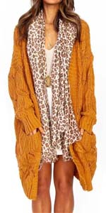 Oversized Boyfriend Loose Cardigans Open Front Cable Knit Long Cardigan Sweater Tops with Pockets