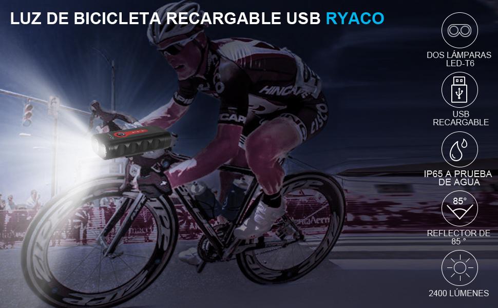 Ryaco Luz Bicicleta Recargable USB, 4 Modos de iluminación 2400 Lúmenes IP65 a Prueba de Agua para Acampar LED Faro lámpara Bicicleta para Carretera y Montaña: Amazon.es: Deportes y aire libre