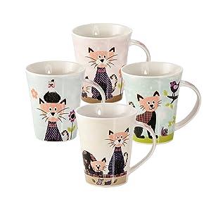 Juego de 4 Tazas Desayuno Originales de Porcelana Fina, Tazas de ...