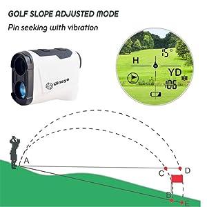 golf range finder with slope measurement