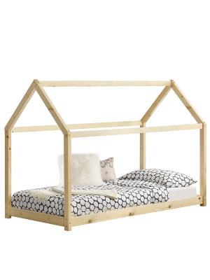en.casa Lit denfant Design Maison Lit Cabane Pin Contreplaqu/é Solide Bon March/é Couleur Bois Naturel 146x78x130cm