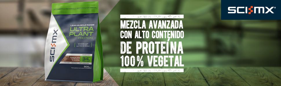 SCI-MX Ultra Plant, Proteína en polvo vegetal, 900 g, Chocolate y Avellana