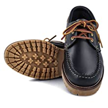 chaussures bateau homme Garçon Enfant Unisex cuir marron noir bleu Semelle Caoutchouc