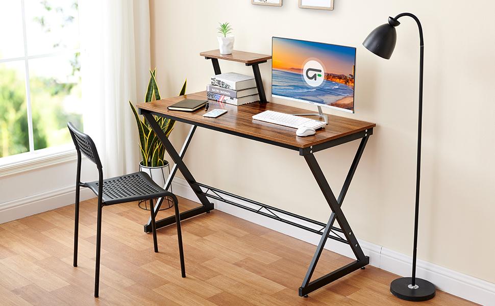 computer desk with movable storage shelf