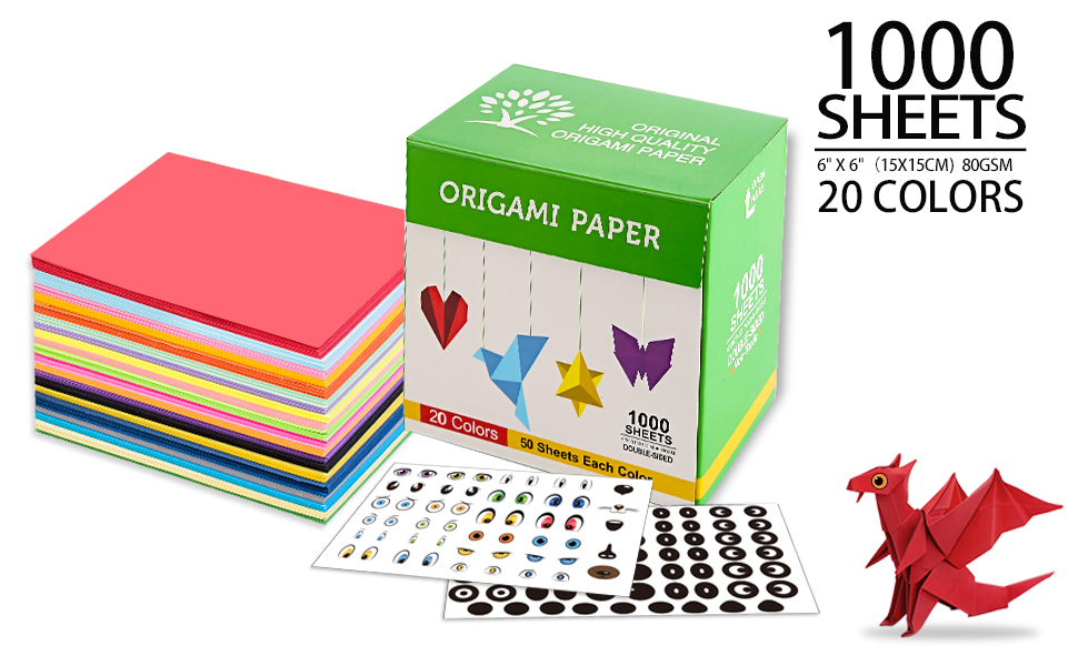 1000 sheets 20 vivid colors 6*6 inches origami paper