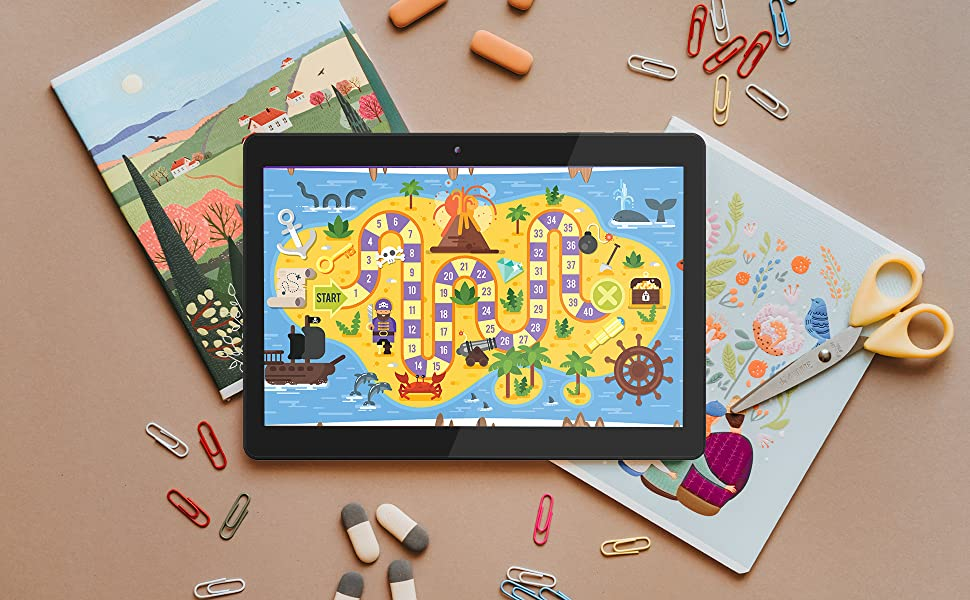 The Innovate 10 laying on a coloring book with a colorful children's game on the screen