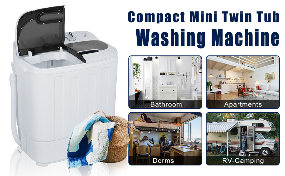 College Rooms Dorms Apartments Delicates and more RVs For Camping SUPER DEAL Portable Washer Mini Twin Tub Washing Machine 17.6 lbs w//78.8 Inlet Hose Gravity Drain Pump