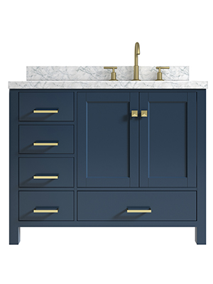 Amazon Com Ariel 43 Inch Midnight Blue Bathroom Vanity Cabinet With Carrara White Marble Counter Top Right Offset Rectangle Sink 2 Soft Closing Doors And 5 Full Extension Dovetail Drawers No