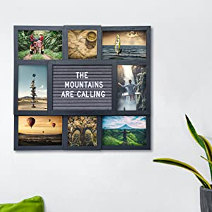 espresso black collage picture frame with multiple picture openings, customizable with letter board