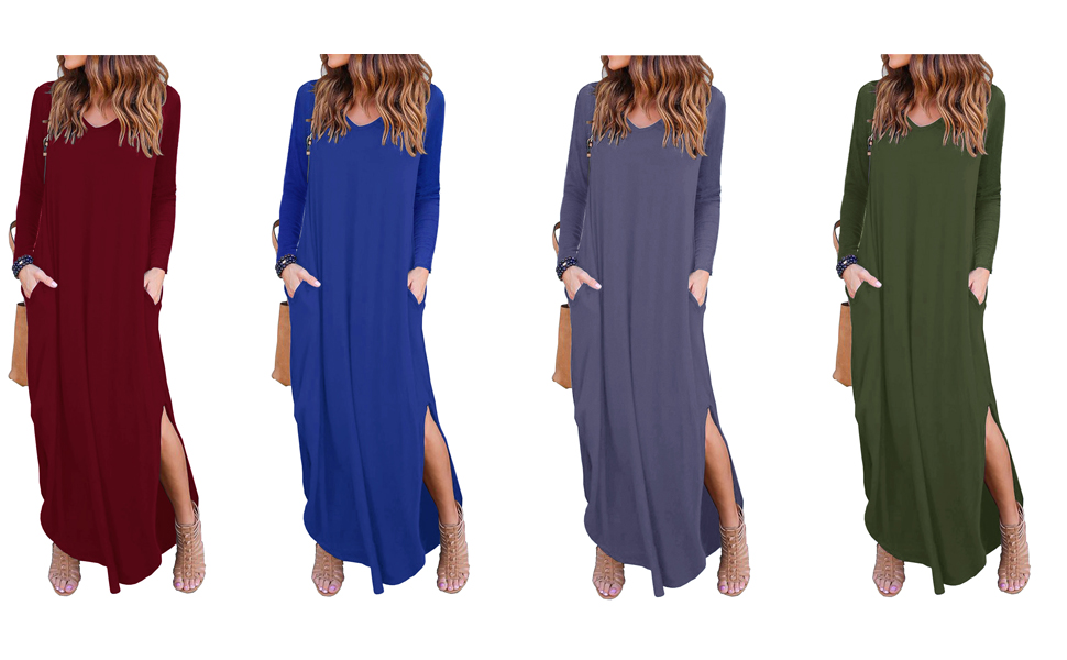 Women's Casual Loose Pocket Long Dress Short Sleeve Split Maxi Dresses $12.07