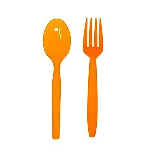 orange spoons orange forks