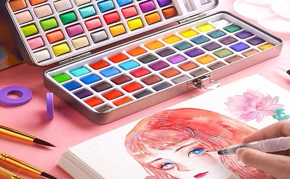 Pintura de acuarela sólida 18 colores brillantes metálicos +2 pinceles+1 esponja, paleta de pintura nacarada portátil, ideal para profesionales ...