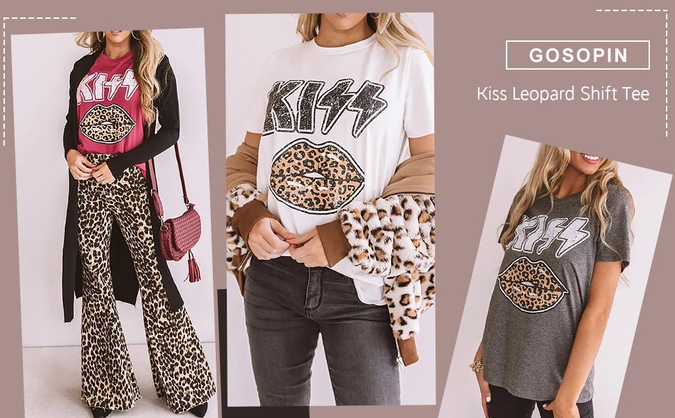 Womens Summer Loose Crewneck Short Sleeve Tops Graphic Print Shirts S-XXL