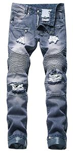 LONGBIDA Men's Ripped Distressed Slim Straight Fit Moto Biker Jeans