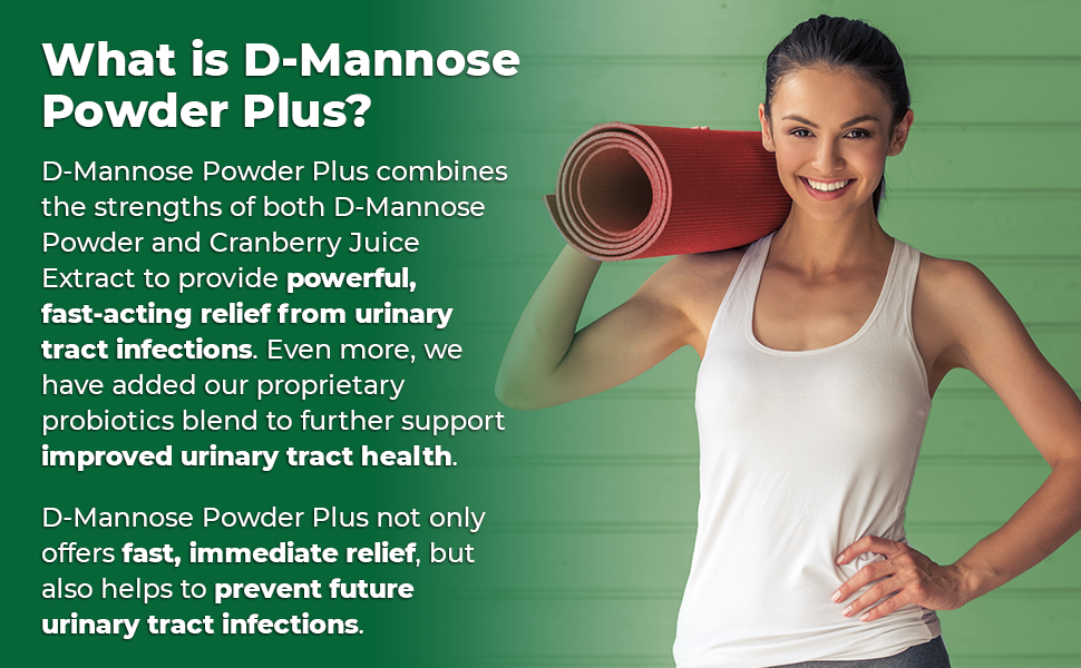 Zazzee D-Mannose Powder Plus, with Cranberry and Probiotics, provides fast-acting UTI relief.