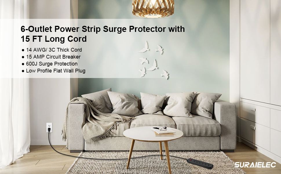 Suraielec 15 Foot Long Cord Power Strip Surge Protector with Low Profile Flat Plug