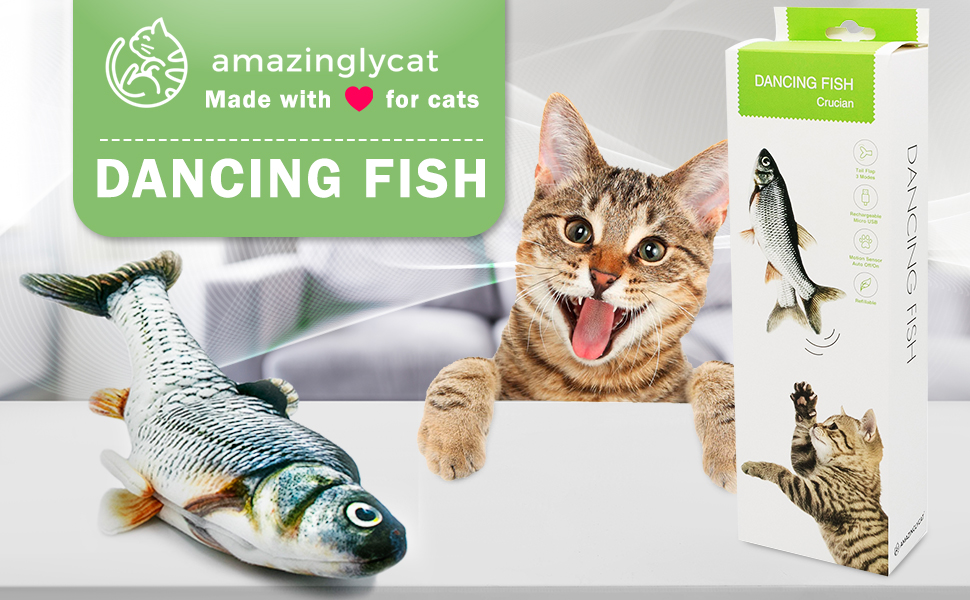 fish cat toy moving with catnip cat nip robot fish kids realistic vibrating motorized excercise
