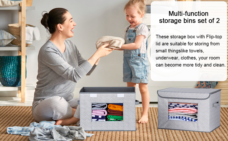 """Collapsible Storage Box - Univivi Larger Storage Cubes [2-Pack] Foldable Storage Box With Lid, Collapsible Storage Bin Organizer Basket With Sturdy Handles For Home, Nursery, Closet (16.92 X 11.8 X 11.81"""")"""