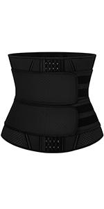 Women Waist Trainer Corset Latex Waist Cincher Trimmer Belt Workout Body Shaper Sport Girdle Black