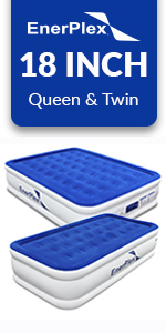 enerplex double high luxury air mattress 18 in blow up bed with pump
